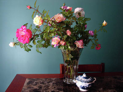 Mixed Media - Still Life With Roses by Steve Karol