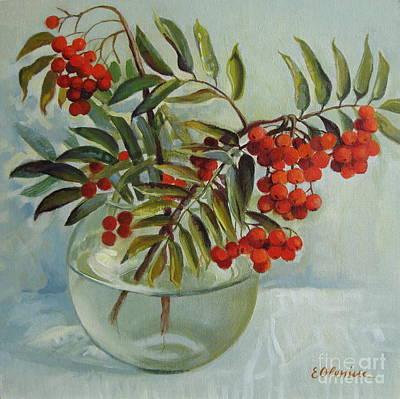 Viburnum Painting - Still Life With Rowan by Elena Oleniuc