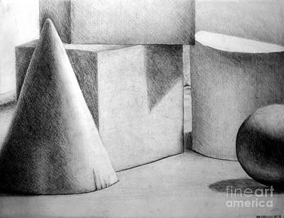 Still Life Drawings - Still Life with Shapes by Nancy Mueller