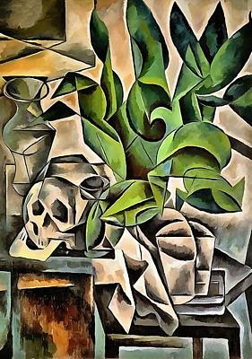 Painting - Still Life With Skull After Bohumil Kubista by Tracey Harrington-Simpson