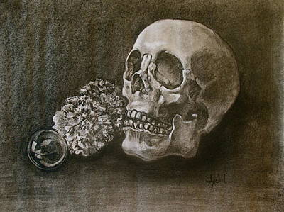 Skull Painting - Still Life With Skull by Ixchel Amor