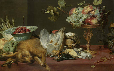 Painting - Still Life With Small Dead Game And Fruit by Frans Snyders
