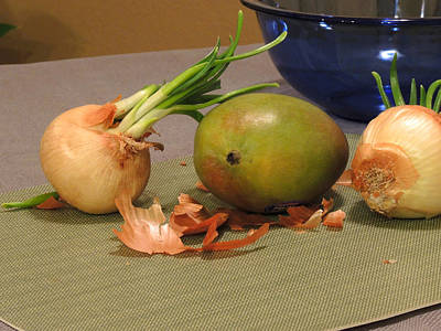 Digital Art - Still Life With Sprouted Onions And Mango by Lynda Lehmann
