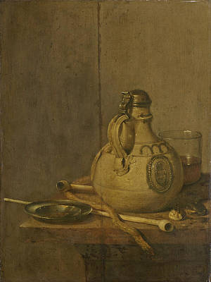 Stoneware Painting - Still Life With Stoneware Jug And Pipes by Jan Treck