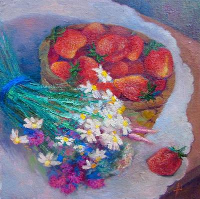 Russianartist Painting - Still Life With Strawberries by Anna Shurakova