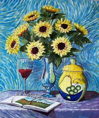 Painting - Still Life With Sunflowers by RB McGrath