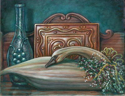 Still Life With Swan Art Print by Colleen  Maas-Pastore
