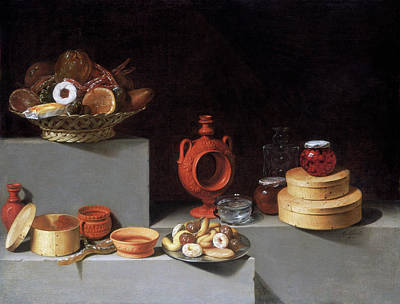Painting - Still Life With Sweets And Pottery by Juan van der Hamen y Leon