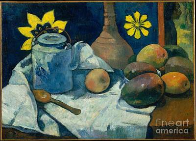Teapot Painting - Still Life With Teapot And Fruit  by Celestial Images