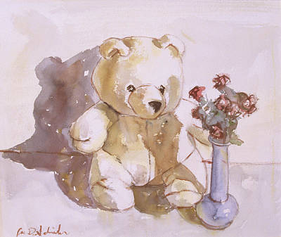 Still Life With Teddy Bear Art Print