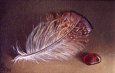 Sea Glass Painting - Still Life With The Feather 1 by Elena Kolotusha