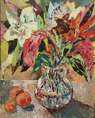 Palette Knife Drawing - Still-life With Three Oranges by Talia Prilutsky
