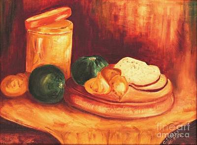 Still Life With Tin, Bread And Onions Original by Caroline Street