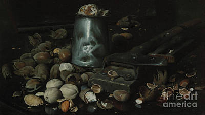 Black Walnut Painting - Still Life With Tin Can And Nuts by Joseph Decker