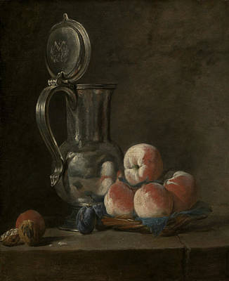 Still Life With Tin Pitcher And Peaches  Art Print