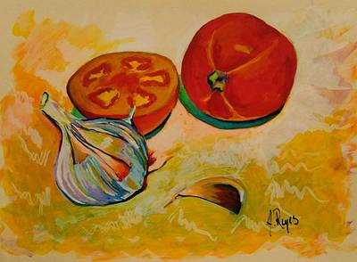 Painting - Still Life With Tomatoes And Garlic by Angel Reyes