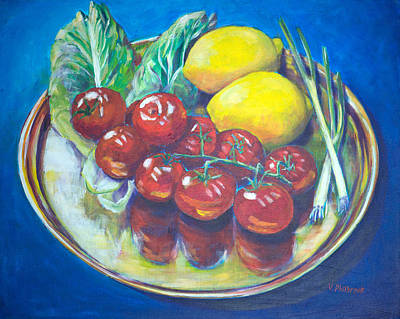 Brass Leafs Painting - Still Life With Tomatoes by Val Philbrook