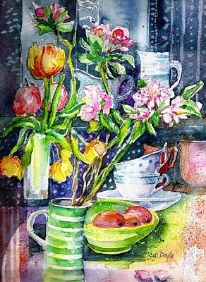 Still Life With Tulips And Apple Blossoms  Art Print by Trudi Doyle