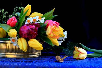 Tulips For The Home Photograph - Still Life  With Tulips And Butterfly by Rusalka Koroleva