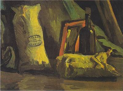 Painting - Still Life With Two Bags And Bottle by Vincent Van Gogh
