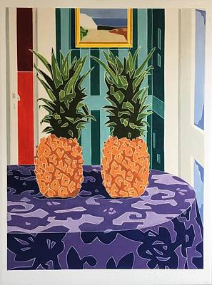 Painting - Still Life With Two Pineapples  by Varvara Stylidou