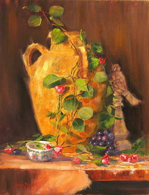 Grapes Painting - Still Life With Urn by Laura Lee Zanghetti