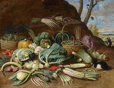 Still Life With Fish Painting - Still Life With Vegetables And A Rabbit Still Life With Fish And Cats In The Kitchen by Jan van Kessel