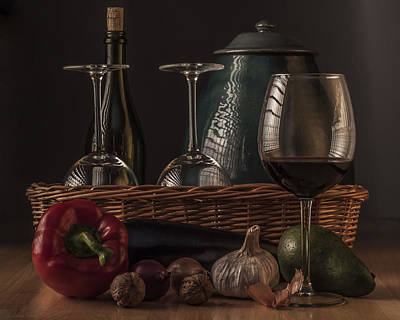 Still Life With Vegetables And Glass Of Wine Art Print by Julis Simo