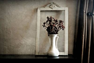 Photograph - Still Life With Vintage Vase And Frame by Patricia Strand