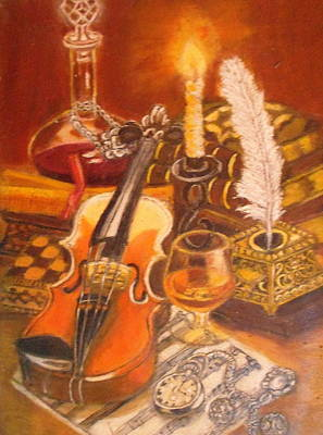 Still Life With Violin And Candle Art Print