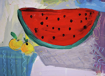 Painting - Still Life With Watermelon And Two Lemons by Amara Dacer