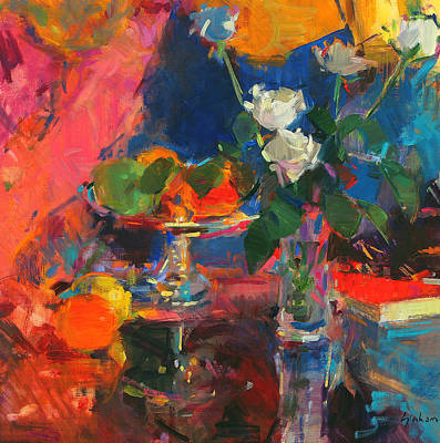 Still Life With White Roses Art Print by Peter Graham