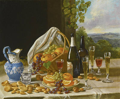Painting - Still Life With Wine And Fruit by John F Francis