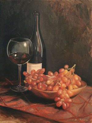 Grapes Painting - Still Life With Wine And Grapes by Anna Rose Bain