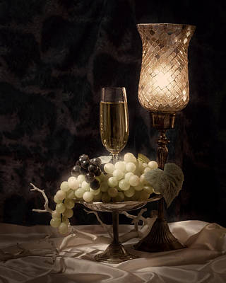 Wineglasses Photograph - Still Life With Wine And Grapes by Tom Mc Nemar