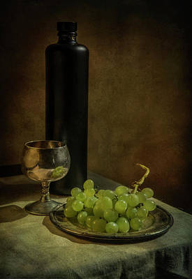 Still Life With Wine And Green Grapes Art Print by Jaroslaw Blaminsky
