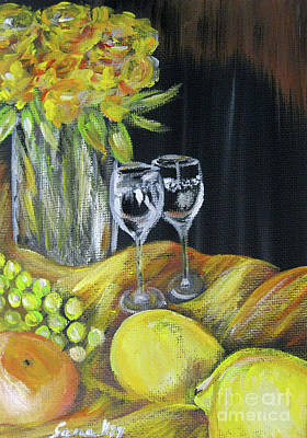 Still Life With Wine Glasses, Roses And Fruit. Painting Art Print