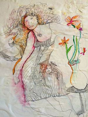Wall Art - Drawing - Still Life With Woman And Bird by Rosalinde Reece