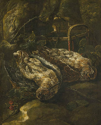 Woodcock Painting - Still Life With Woodcocks by Jan Fyt