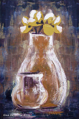 Painting - Still Life With Yellow Flowers by Gina De Gorna