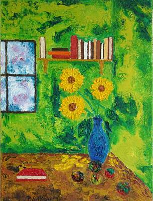 Bookshelf Painting - Still Life With Yellow Flowers by Peter Silkov