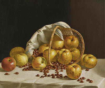 Painting - Still Life. Yellow Apples And Chestnuts Spilling From A Basket by John F Francis