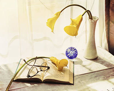 Still Life - Yellow Calla Lilies Art Print by Jon Woodhams