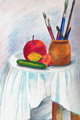 Apple Painting - Still Life by Zara GDezfuli