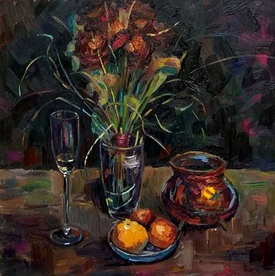 Painting - Still Life.while The Rain by Nina Silaeva