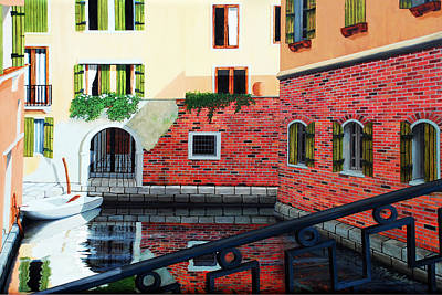 Painting - Still, On The Venice Canal, Prints From The Original Oil Painting by Mary Grden Fine Art Oil Painter Baywood Gallery