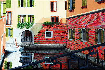 Village Painting - Still, On The Venice Canal, Prints From The Original Oil Painting by Mary Grden's Baywood Gallery