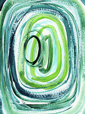 Puddle Painting - Still Orbit 9- Abstract Art By Linda Woods by Linda Woods