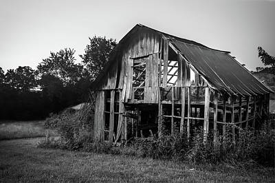Photograph - Still Standing - Northwest Arkansas Vintage Barn Black And White by Gregory Ballos