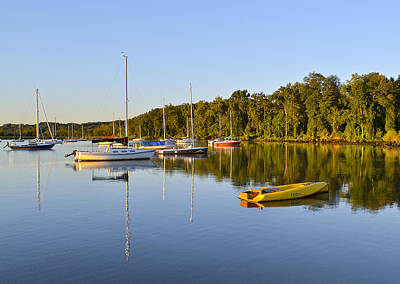 Still Waters On The Potomac River At Belle Haven Marina Virginia Print by Brendan Reals